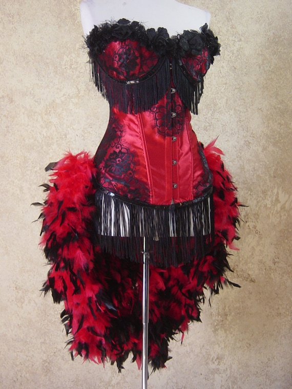Pick Size-Red/Black Rose Lolita Showgirl Saloon Girl Moulin Burlesque Costume w/Feather Train Day of the Dead