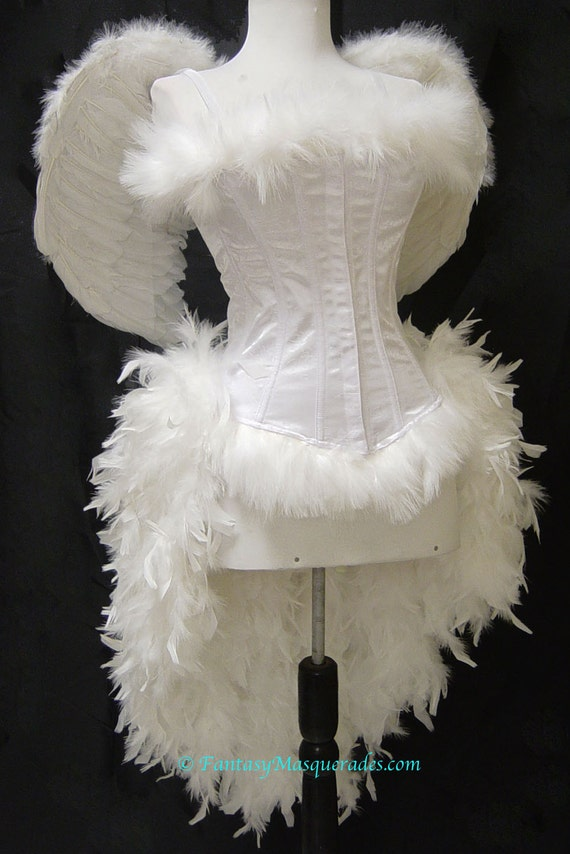 Pick Size-White Angel Burlesque Feather Costume with Wings