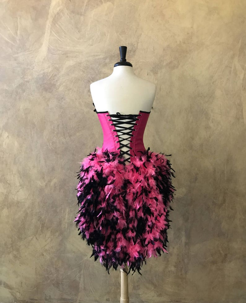 Pick Size-SALE-Hot PinkBlack Rose Lolita Showgirl Saloon Girl Moulin Burlesque Costume wFeather Train Day of the Dead