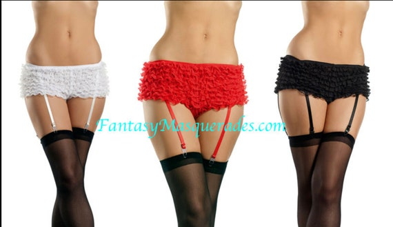 Ruffle Lace Boyshort Shorts with Garter Straps-Red, black, white