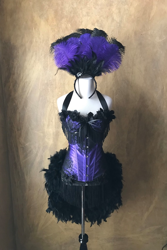 Pick Size-Purple Satin Black Lace  Lolita Showgirl Saloon Girl Moulin Burlesque Costume w/Feather Train Day of the Dead
