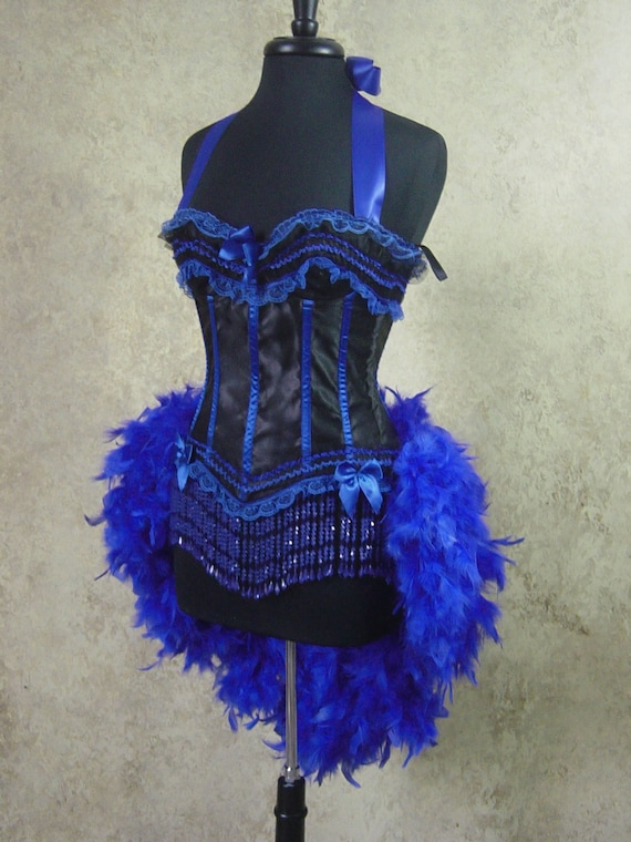 Size M-Royal Blue &  Black Victorian Lace Moulin Burlesque Costume Feather
