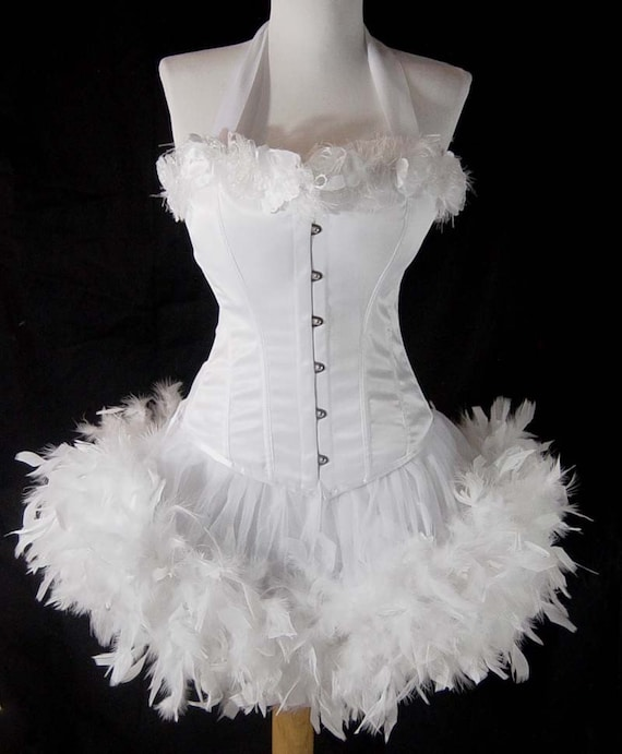 Pick Size-White Rose Saloon Girl Can Can Pin Up Carnival Costume w/ Halter Corset & Feather Trim Skirt