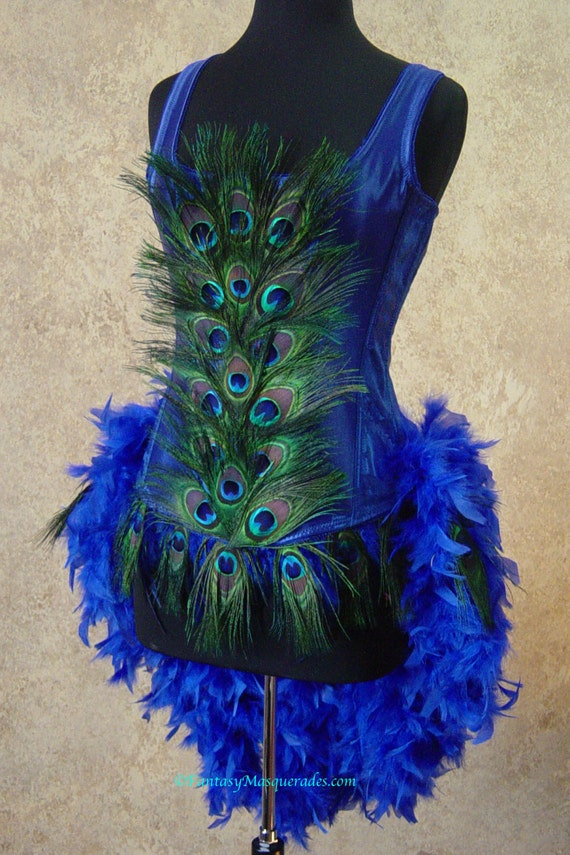 Royal Blue Peacock Feather Moulin Burlesque Mardi Gras Costume with Feather Train