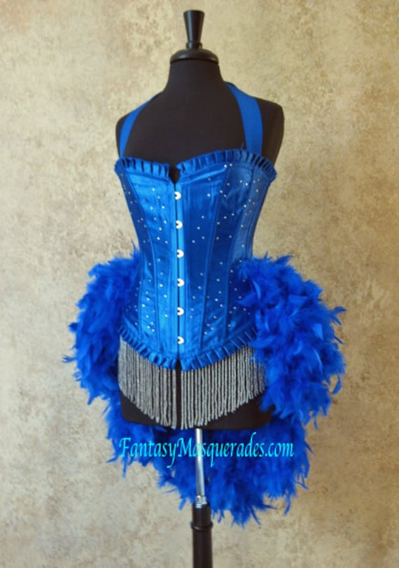 Pick Size-Royal Blue Scattered Crystal Pin Up Showgirl Saloon Girl Can Can Moulin Burlesque Costume w/Feather Train