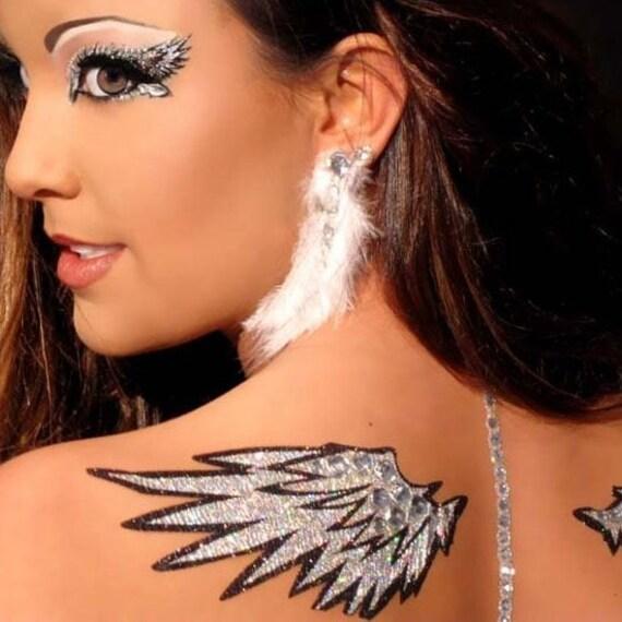 Xotic Eyes Angelic Angel Wings  Costume Glitter Crystal Body Tattoo