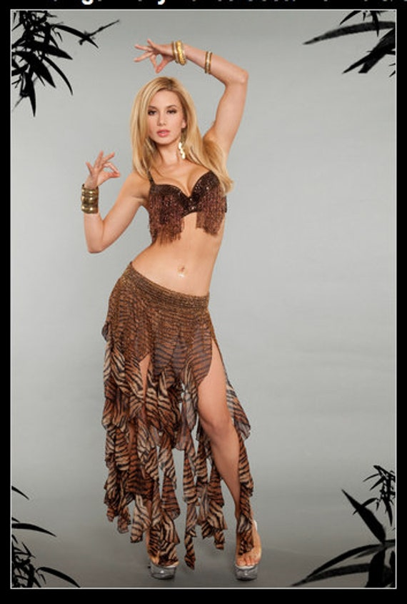 2 pc Animal Print Tiger Belly Dance Costume-Bra & Skirt