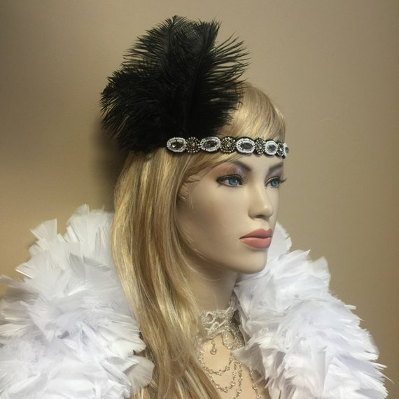 Custom Made Black White Ostrich Feather Flapper Costume Headdress Headband Rhinestone Beaded Wedding
