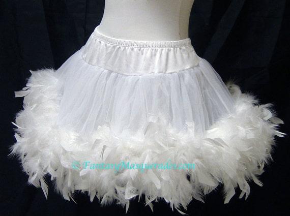 White Layered Chiffon Burlesque Feather Trim Mini Skirt