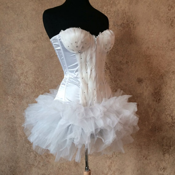 Pick Size-White Swan Crystal Feather Costume w/Layered Tulle Tutu Skirt Burlesque Theater