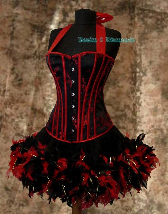 Pick Size-Saloon Girl Can Can Miss Kitty Costume w/ Halter Corset & Feather Trim Skirt