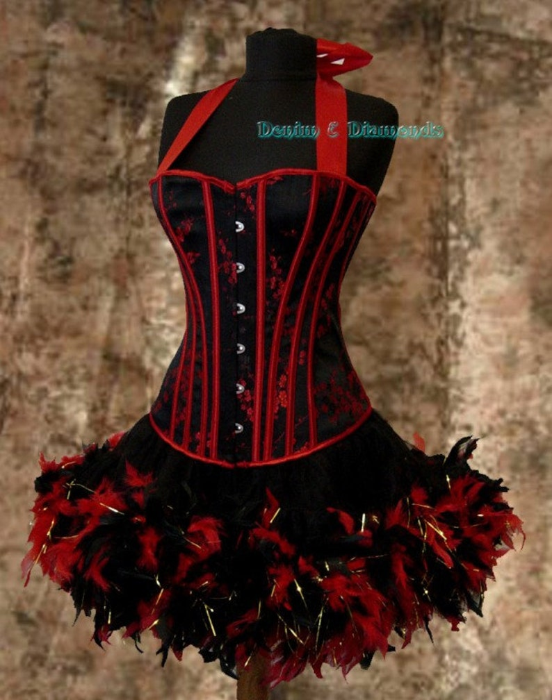 Saloon Girl Costume | Victorian Burlesque Dresses & History Pick Size-Saloon Girl Can Can Miss Kitty Costume w/ Halter Corset & Feather Trim Skirt $129.99 AT vintagedancer.com