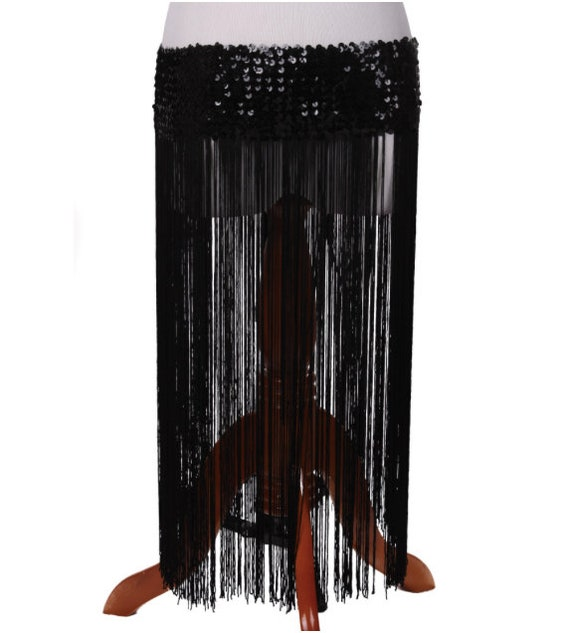 Long Fringe Stretch Sequin Skirt