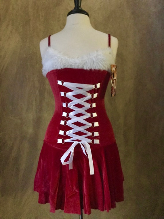 Shirley of Hollywood Sexy Ms Claus Costume Stretch Velvet Dress