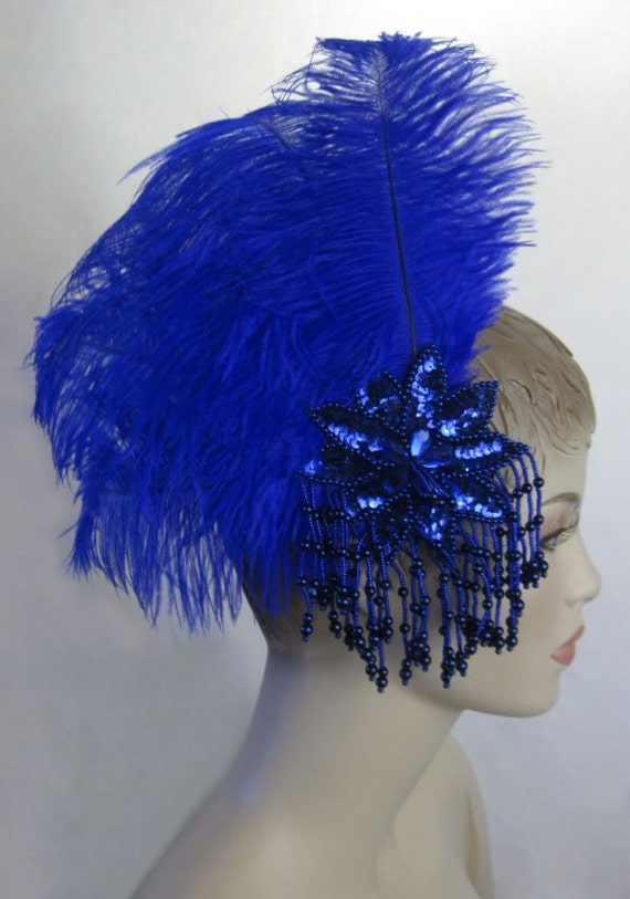 Custom Made Royal Blue Ostrich Feather Fascinator Headdress Hair Clip with Sequins & Beaded Fringe