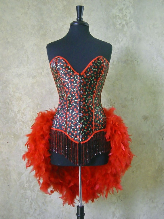 SALE-S,M,L,XL-Double Beaded Cherry Pin Up Showgirl Saloon Girl Can Can Moulin Burlesque Costume w/Feather Train