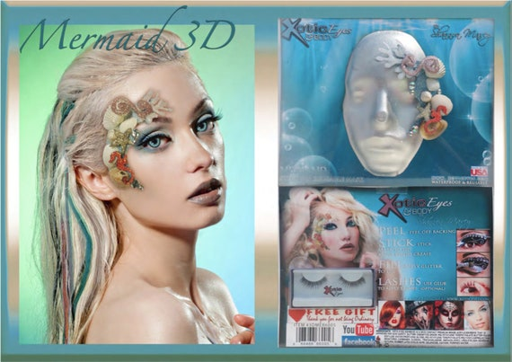 Xotic Exotic Eyes 3D Glitter and Crystal Mermaid Eye Mask with Lashes and Glitter Goo Eyeshadow