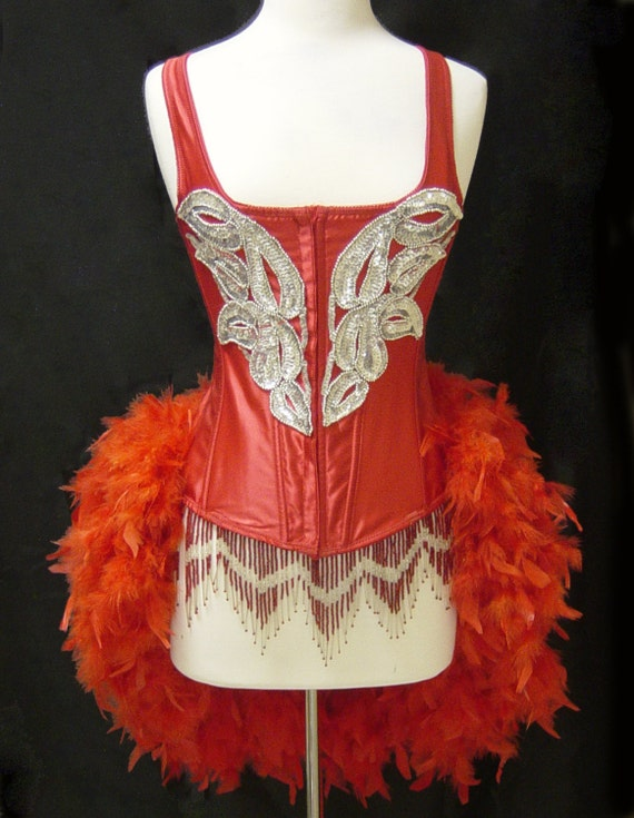 L-Red & Silver Custom Carnival Showgirl Saloon Girl Moulin Burlesque Costume w/Feather Train