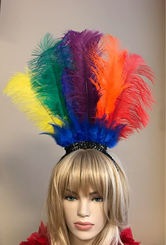 Large Rainbow Ostrich Feather Headdress Headband Hair Accessory Saloon Showgirl Burlesque Costume