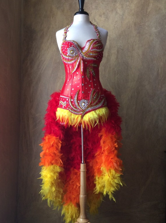 Deluxe Fire Phoenix Flame Feather Rhinestone & Beaded Showgirl Moulin Burlesque Costume w/Feather Train