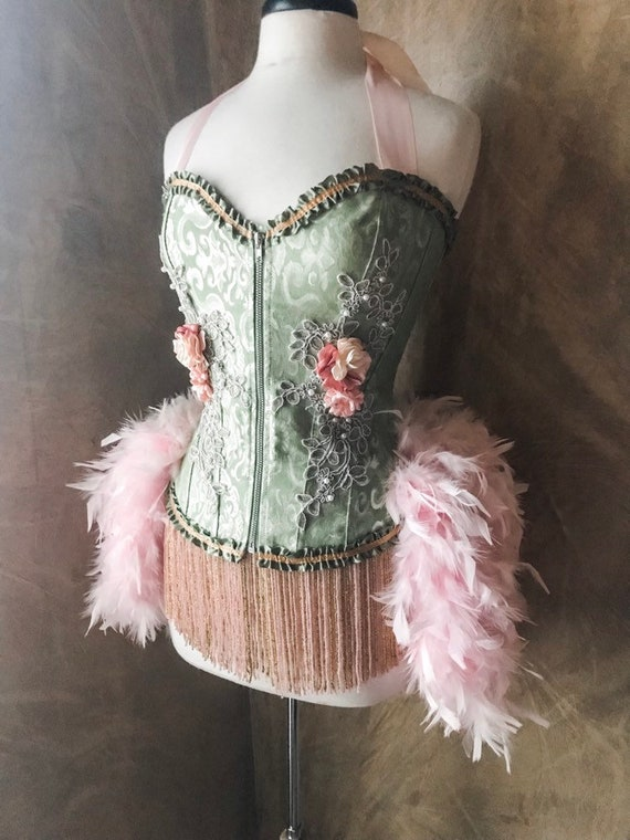 Pick Size-Pink/Green Garden Fairy Burlesque Cabaret Pin Up Circus Carnival Costume Feather