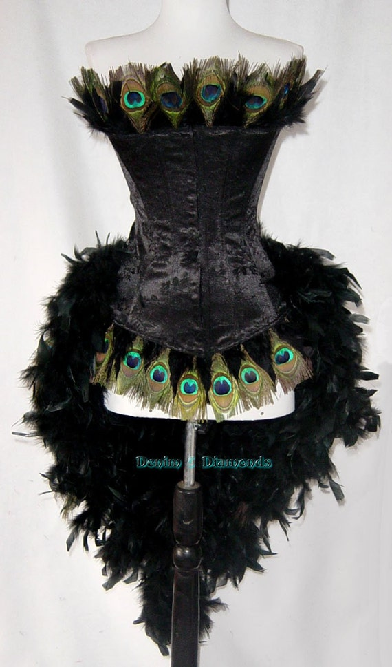 Pick Size-Peacock Eye Feather Brocade Showgirl Saloon Girl Moulin Burlesque Mardi Gras Costume w/Feather Train