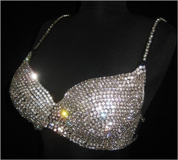 Crystal Rhinestone Burlesque Belly Dance Bra Top-Black