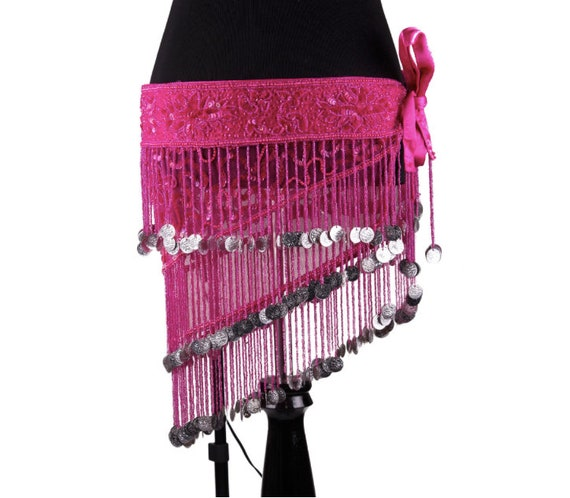Glass Beaded Fringe Sequin Belly Dance Costume Belt-Red, Hot Pink, AB, or Black w/Silver or Gold Coins