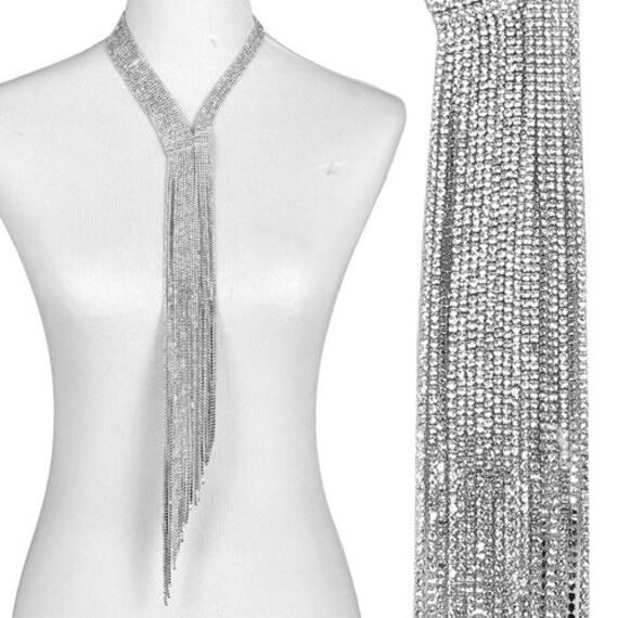 Long Rhinestone Fringe Necklace Tie