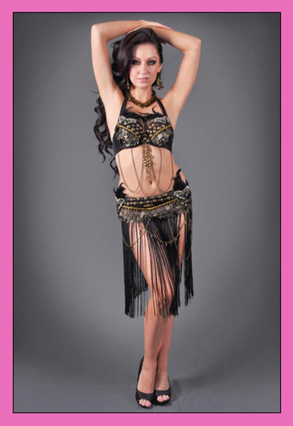 3 pc Professional Tribal Belly Dance Feather Bra Top Belt & Fringe Skirt Set