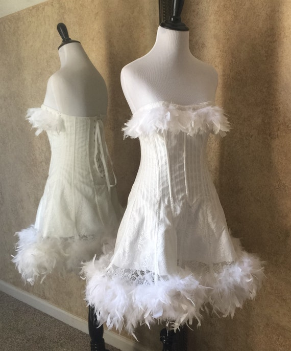 Size L-Saloon Girl Can Can White Angel Pin Up Costume Corset Dress Feather Trim