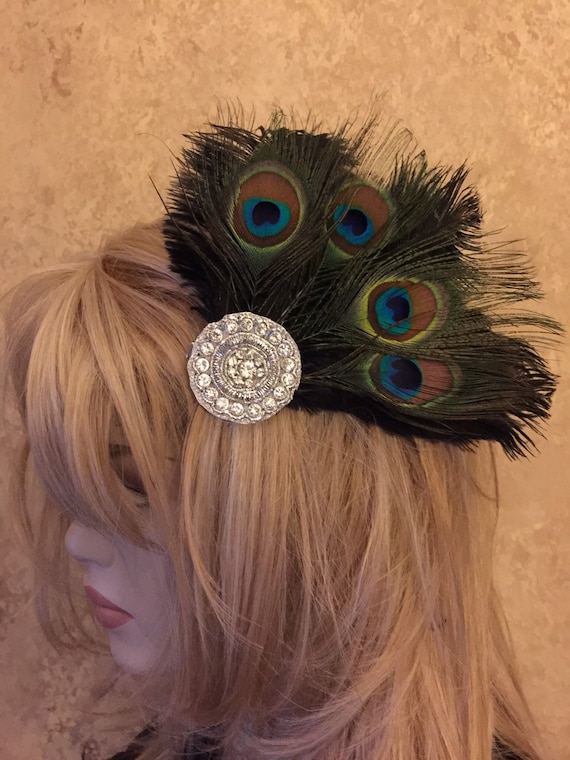 Custom Made Rhinestone Ostrich and Peacock Eye Feather Headdress Fascinator Hair Clip with Flowers & Crystal Rhinestones