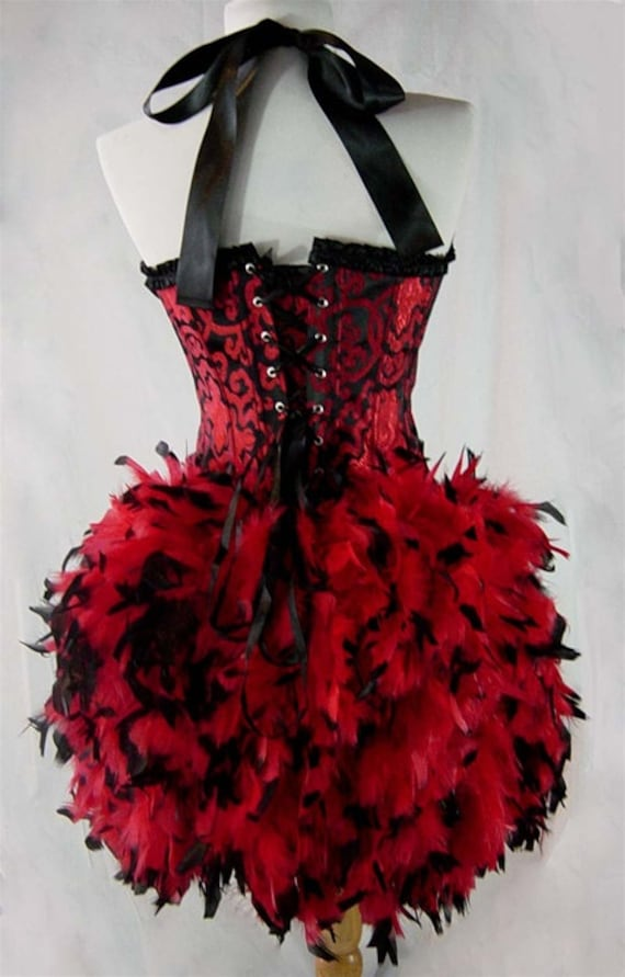Size S through XXL-Saloon Girl Garter Strap Can Can Moulin Burlesque Costume w/Feather Train