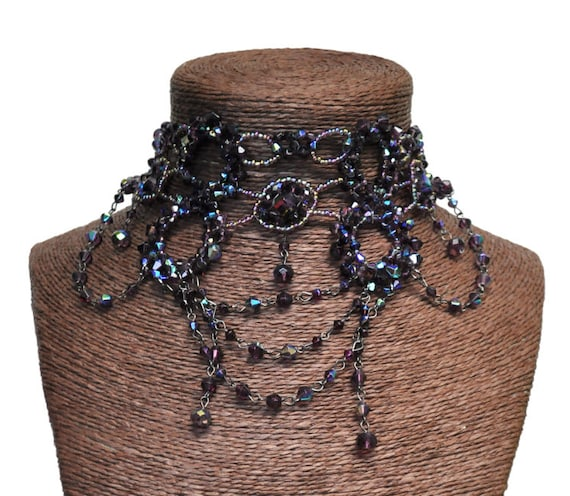 Victorian Beaded Choker Necklace-Purple