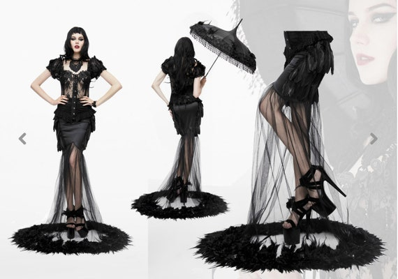 Black Feather Chiffon Mermaid Skirt