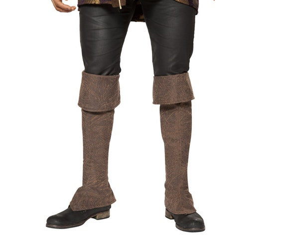 Roma Costume Mens Pirate Zip Up Boot Covers-Brown