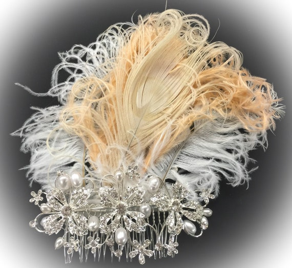 Fresh Water Pearl Peach Blush and Ivory Ostrich Feather Headdress Fascinator Hair Clip w/off White Peacock Eye