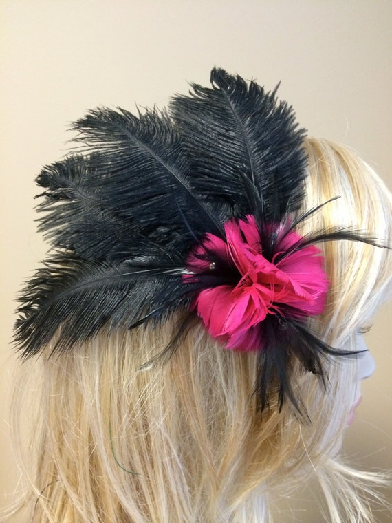 Custom Made Fuchsia Hot PInk/Black Ostrich Feather Headdress Fascinator Hair Clip with Flowers & Crystal Rhinestones