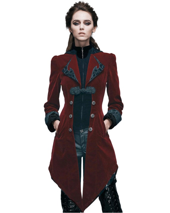 XS-3X Vintage Style Gothic Swallowtail Jacket CT2002