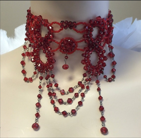 Victorian Beaded Choker Necklace-Red