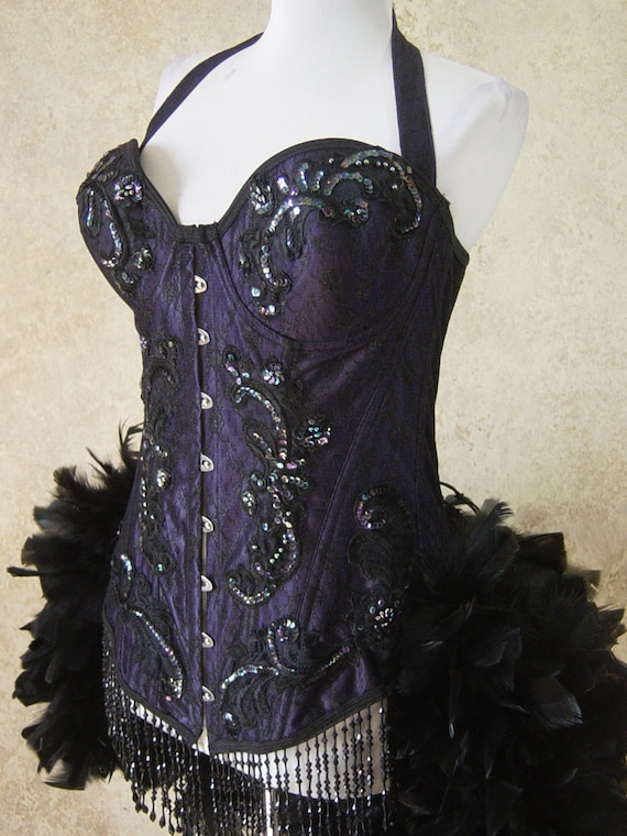 Size M-Longline Royal Purple Steel Busk Brocade Edwardian  Burlesque Costume Rooster Feathers Large