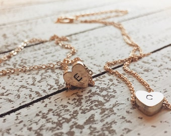 Cute dainty best friend necklace friendship gold and silver bbf bestie heart