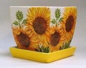 Made To Order, Handmade Decoupage Square Ceramic Indoor Flower Pot, Sunflowers, Floral, 4 quot
