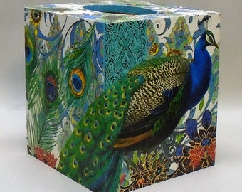 Made To Order Handmade Decoupage Wood Tissue Box Cover Peacock Home Decor