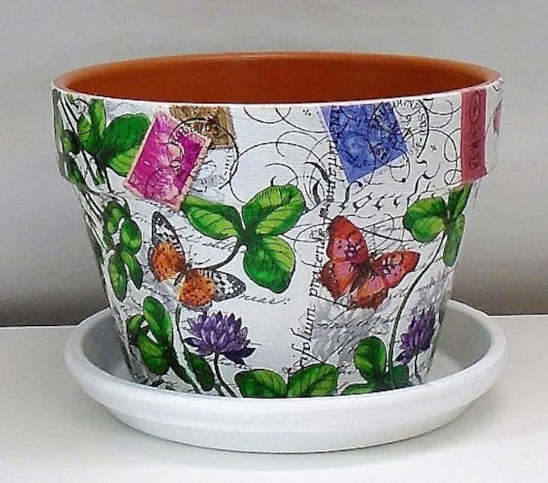 """Handmade Decoupage Indoor Flower Pot Paris 8.25/"""" Red Poppies Made To Order"""