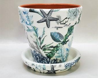 "Made To Order, Handmade Decoupage Terra Cotta Indoor Flower Pot, Seashells, Coral, Beach Decor, Nautical 4.25"""