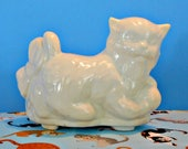 USA Kitty Cat Planter, White Ceramic Kitten, Plant Holder, Succulents and Small Plants, Baby 39 s Room, Baby Shower Centerpiece,McCoy ,Shawnee