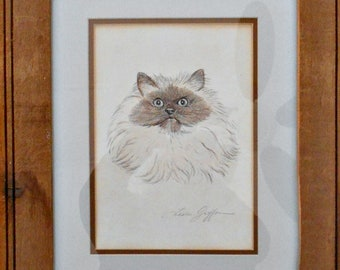 """Kitty Cat Sketch, Hymalayan Cat, by Leslie Griffon, Wood Frame, Double Matted, Glass Cover, 18"""" x 16"""", Wall Art, Cat Art, Signed by Artist"""