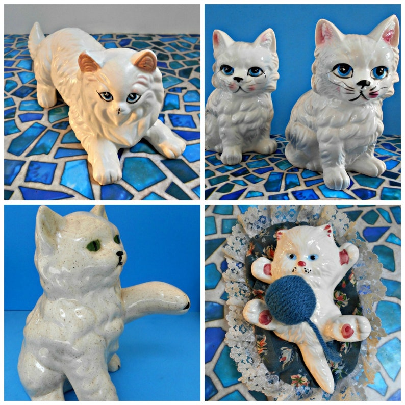 Winter White Cat Sale! 5 Lovely Ceramic Cats, 5 Persian Type Cats, Super  Discounted Price! Cat Figurines