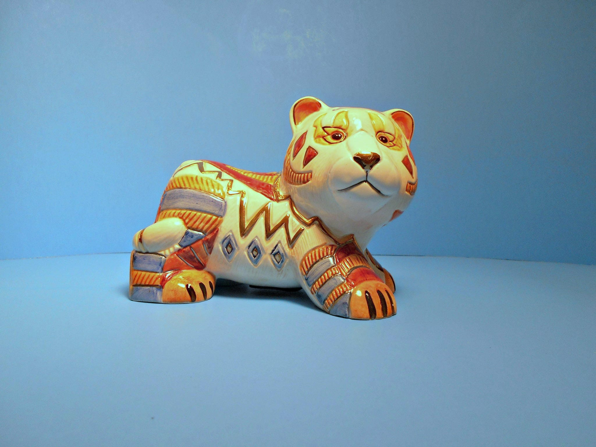 Tiger Kitty Bank Colorful Feline Coin Holder Artesania